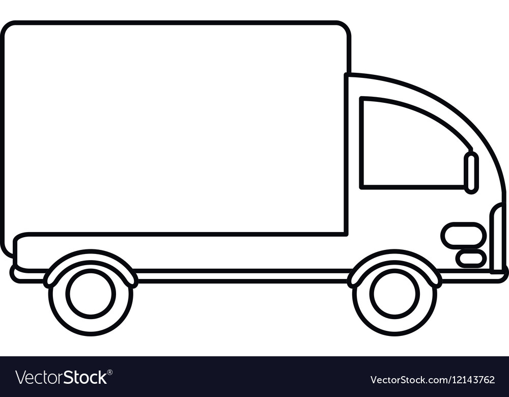 Truck mini delivery cargo outline