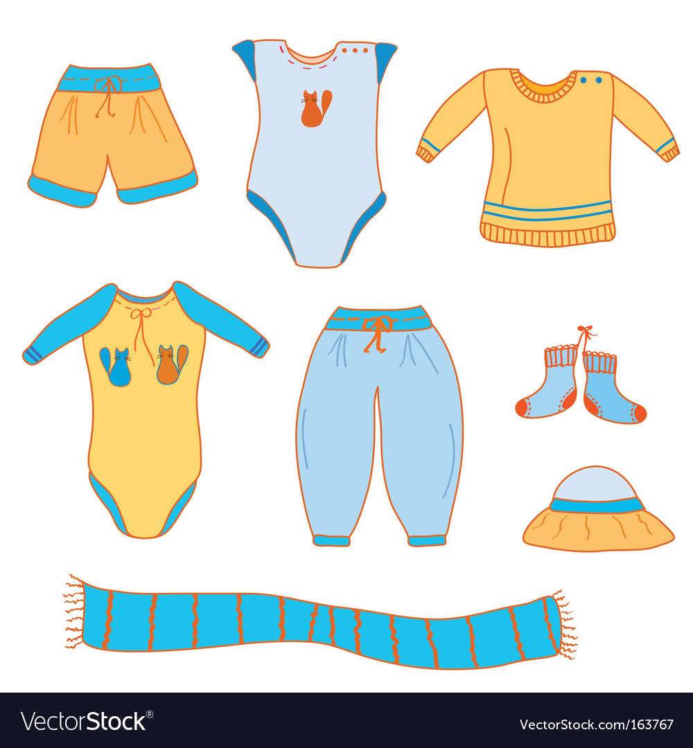 Baby boy clothes Royalty Free Vector Image - VectorStock