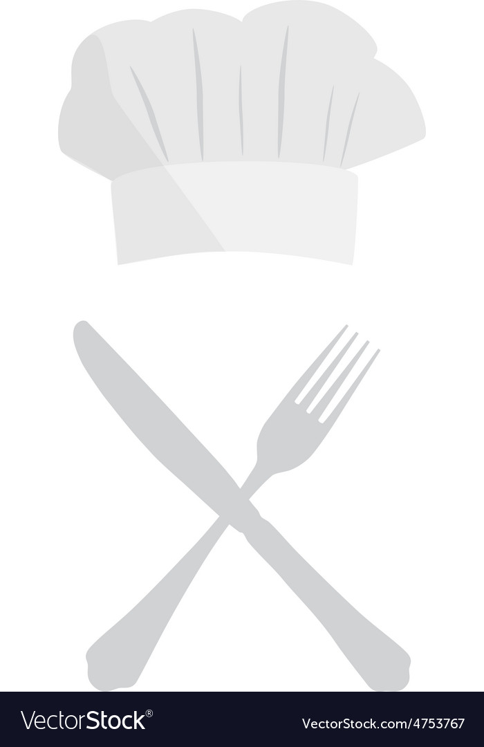 Cook hat fork and knife