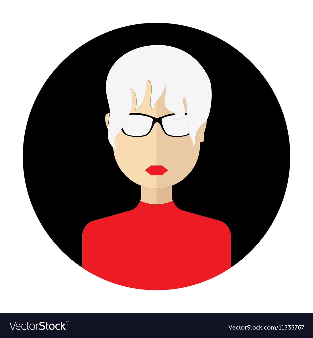 Female face avatar round flat icon with women