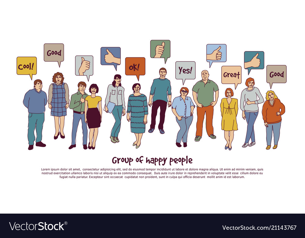 Group happy people and sign like isolate on white