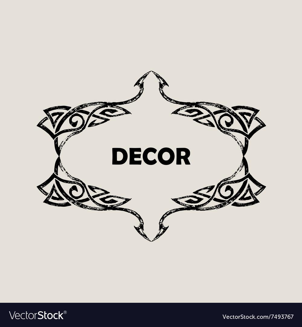 Grunge Vintage emblem Black decor abstract logo