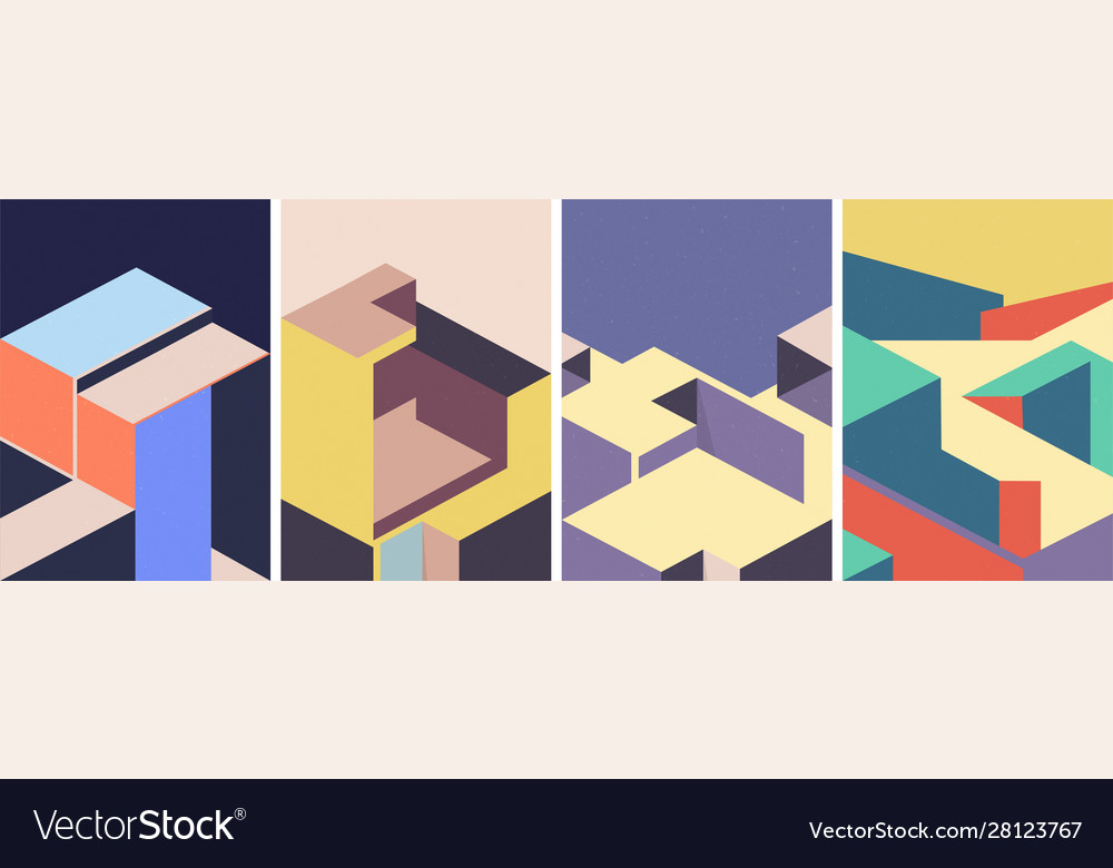 Isometric architectural cover design geometric