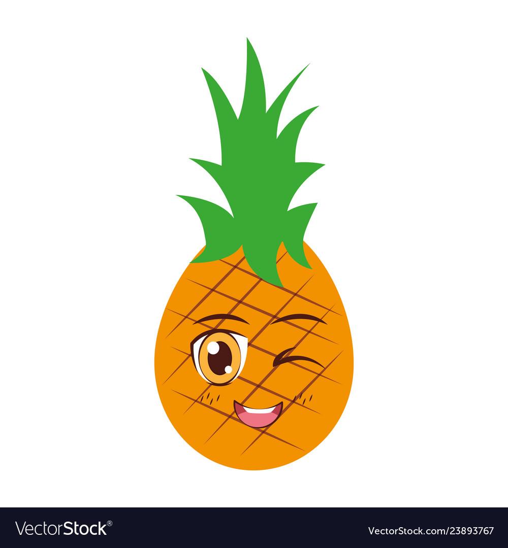 Kawaii Pineapple Cartoon Character