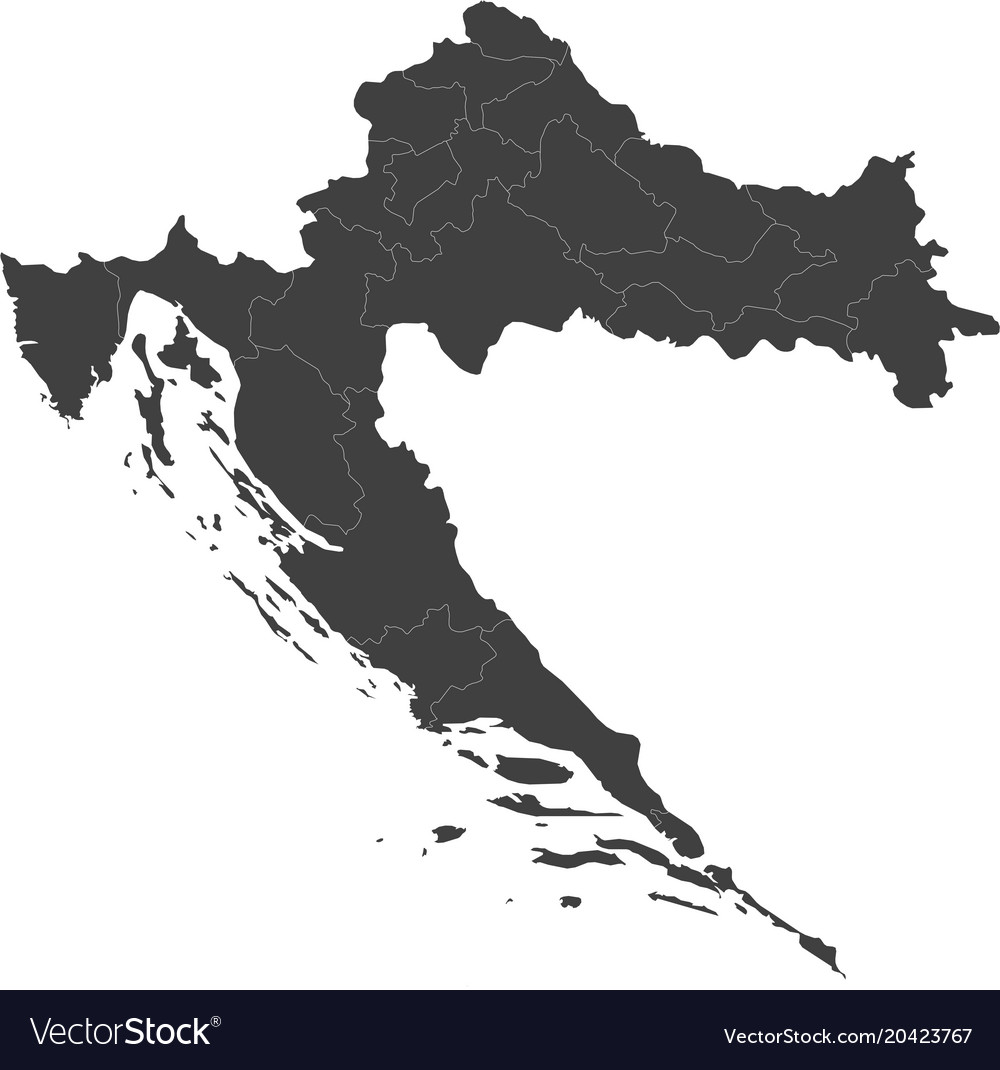 Map of croatia split into regions Royalty Free Vector Image