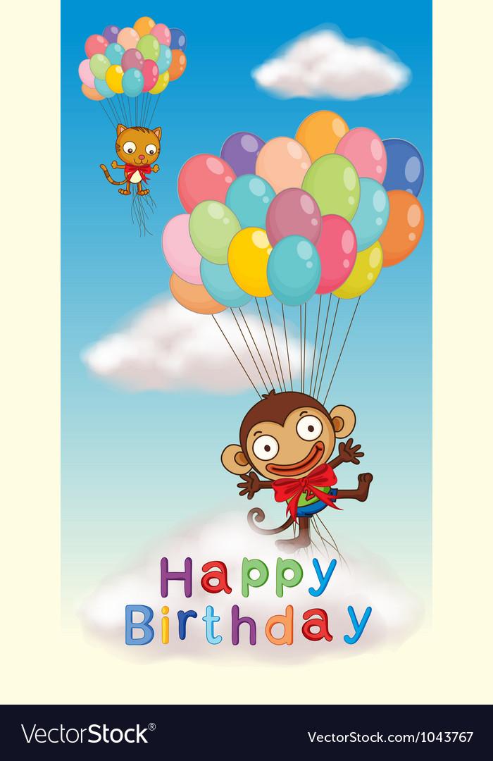 Monkey Birthday Card Royalty Free Vector Image