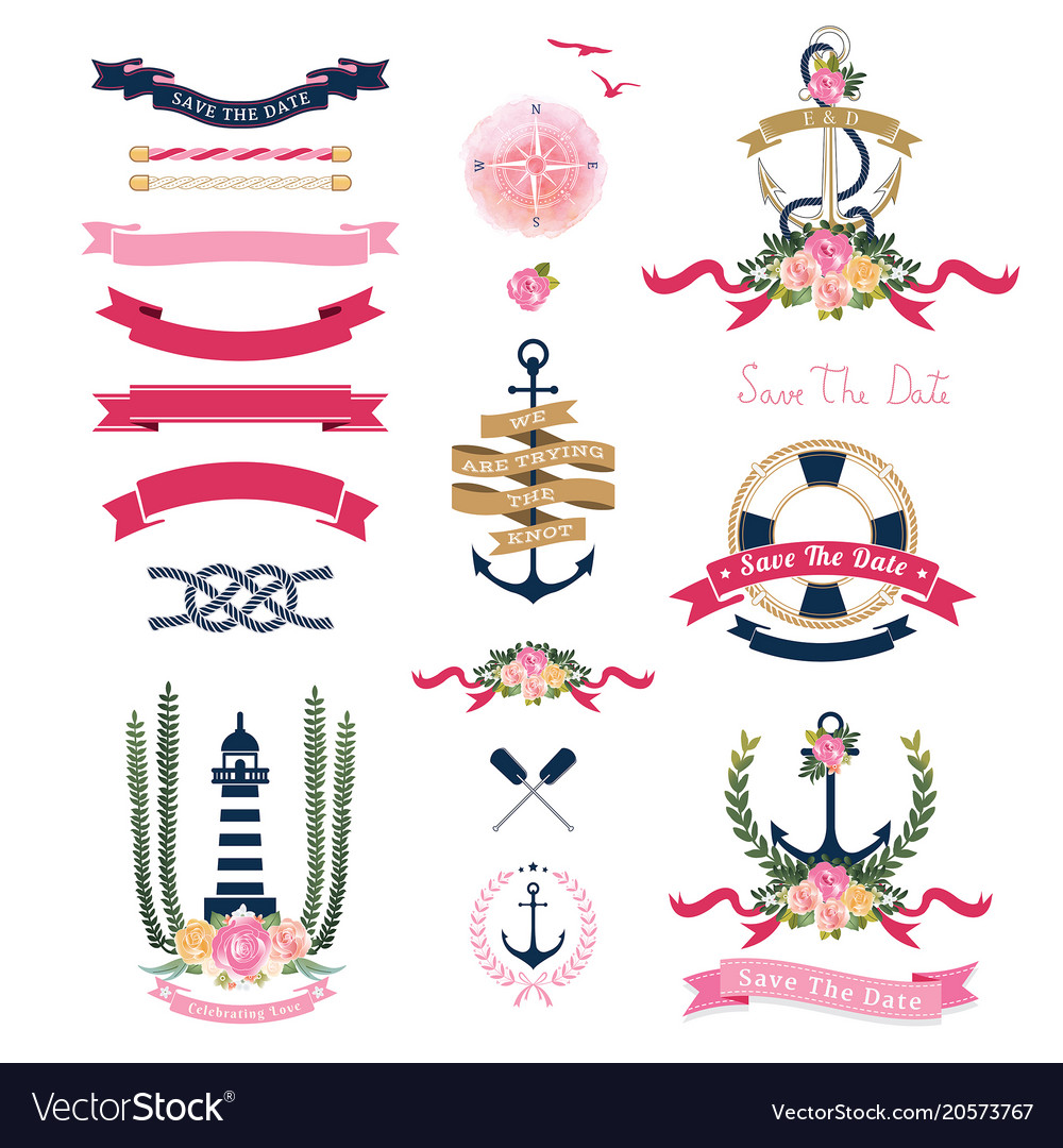 Nautical wedding theme with floral and anchor vector image