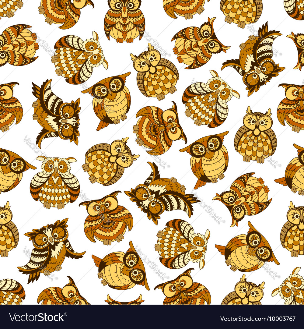 Owl and owlet birds seamless pattern