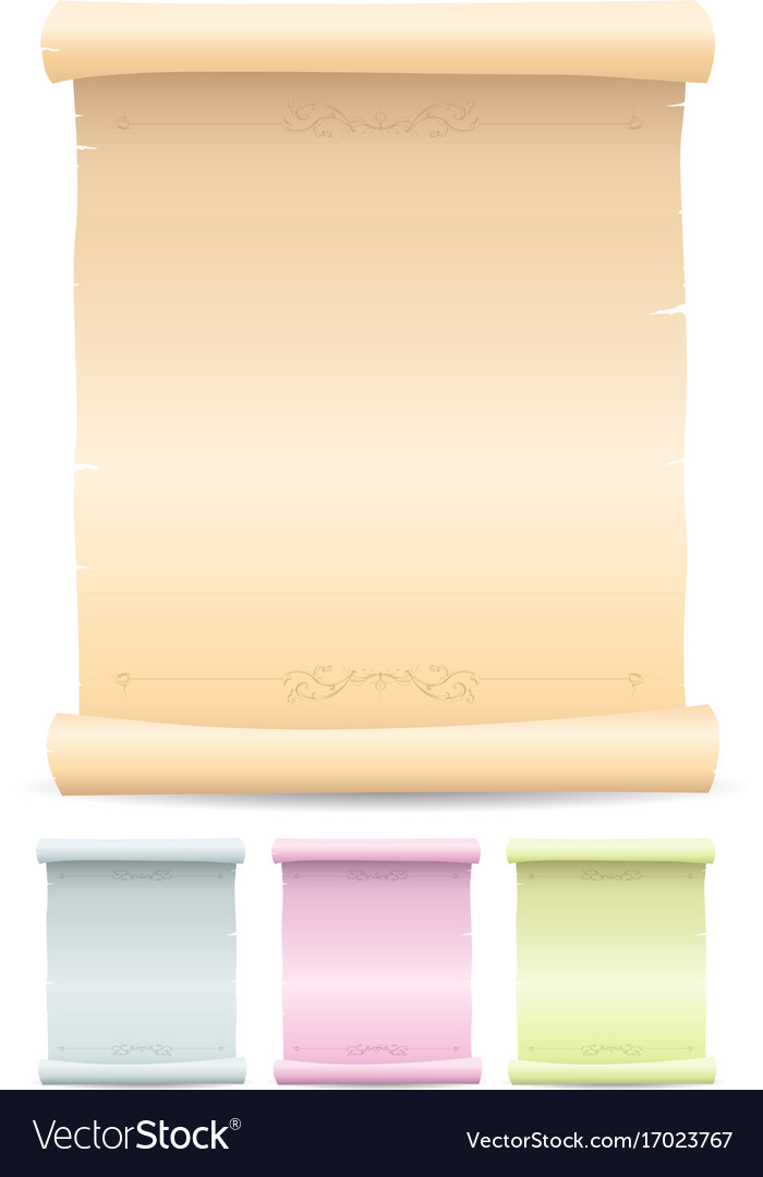 parchment scroll set royalty free vector image
