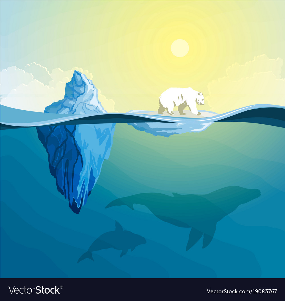 Polar bear on polar pole global warming concept vector image