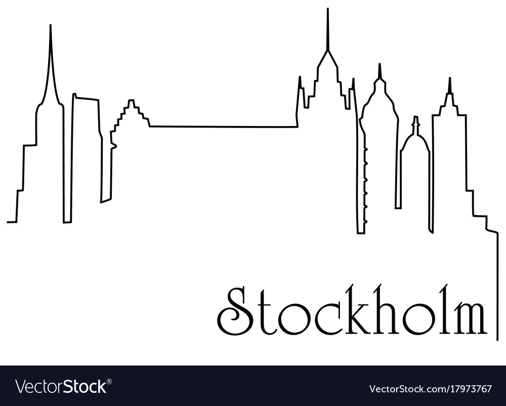 Stockholm city one line drawing background