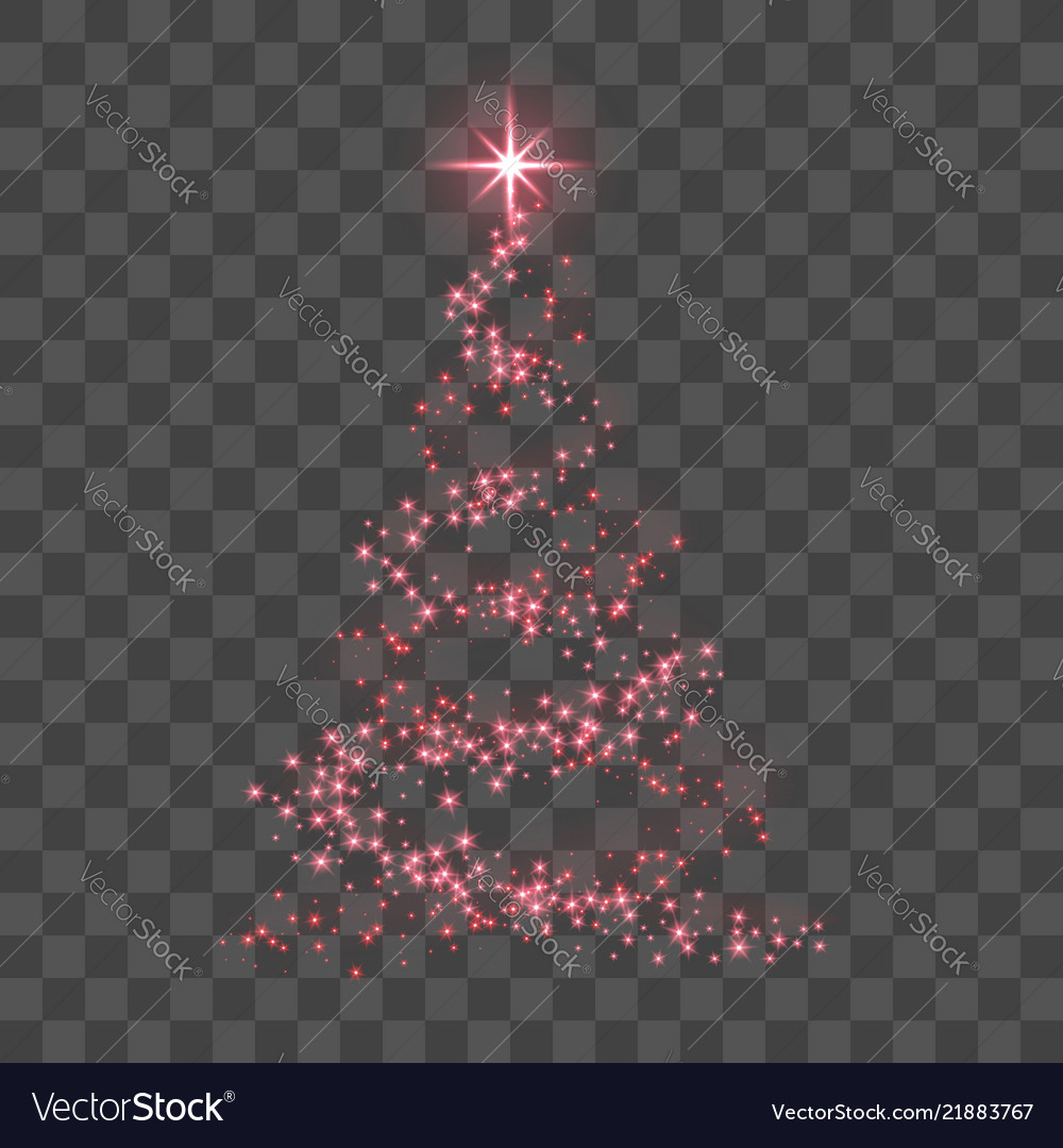 Stylized red christmas tree as symbol of happy new