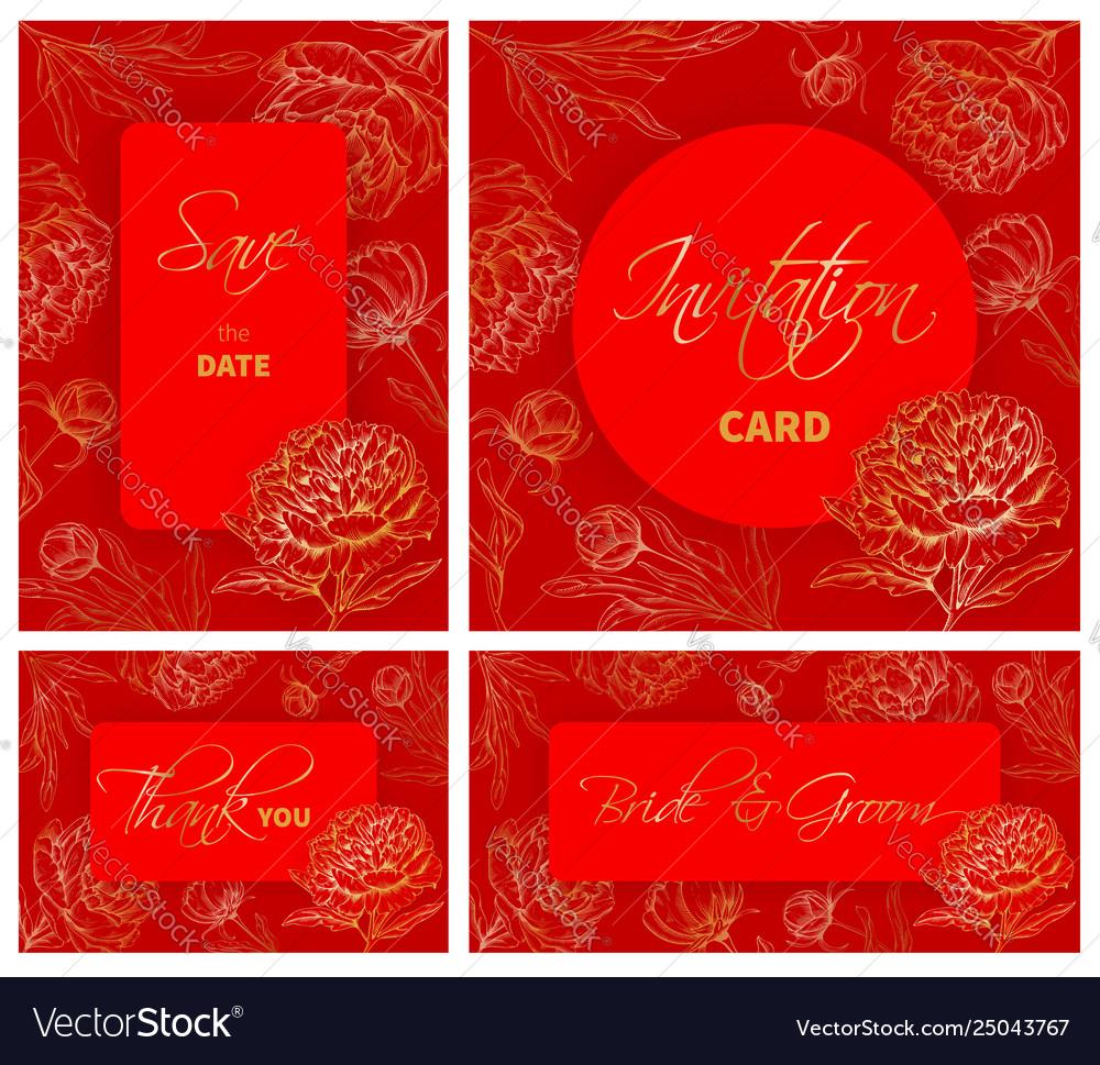 Wedding templates set with hand drawn peony