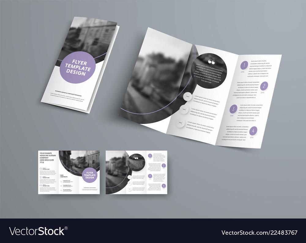 White three-fold brochure design with purple