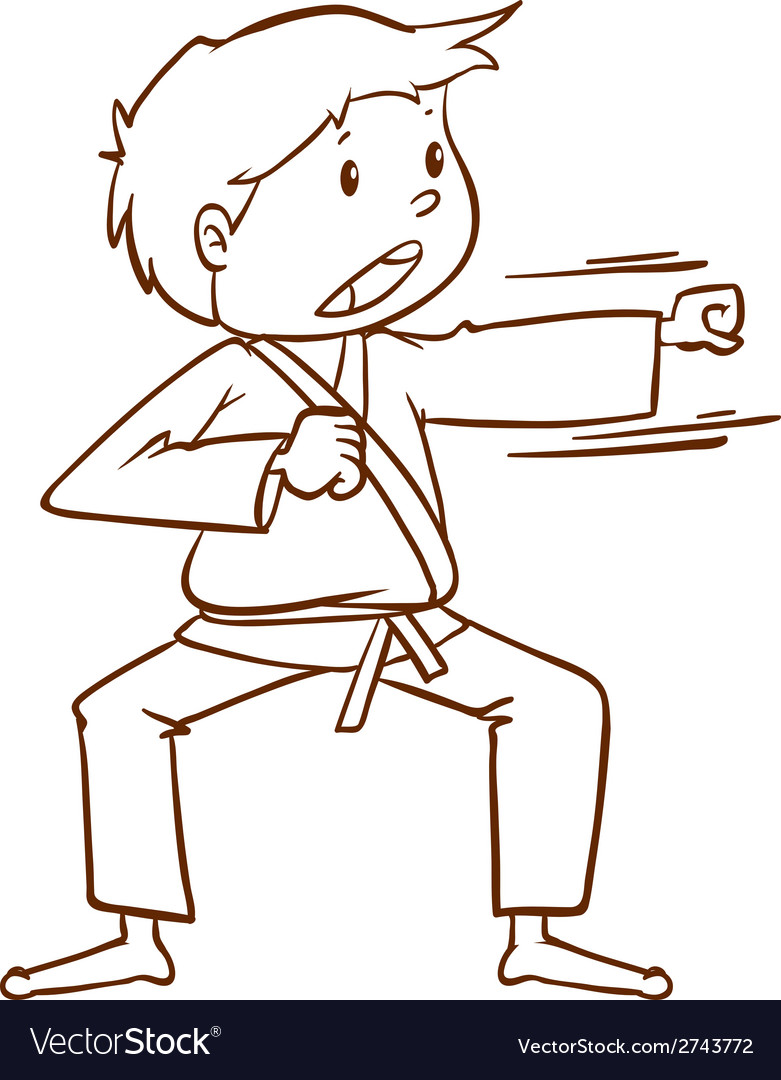 A simple sketch of a boy doing martial arts