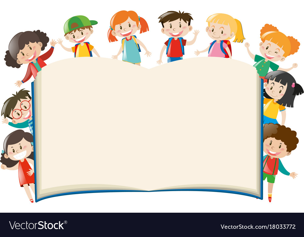 Background template with kids holding big book stock vector.