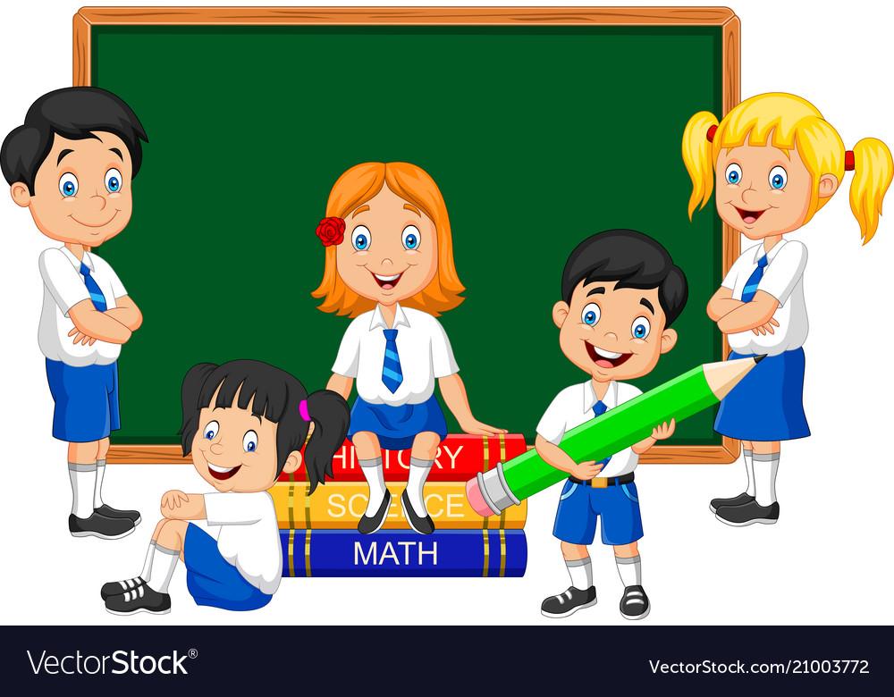 Cartoon school kids studying in the classroom