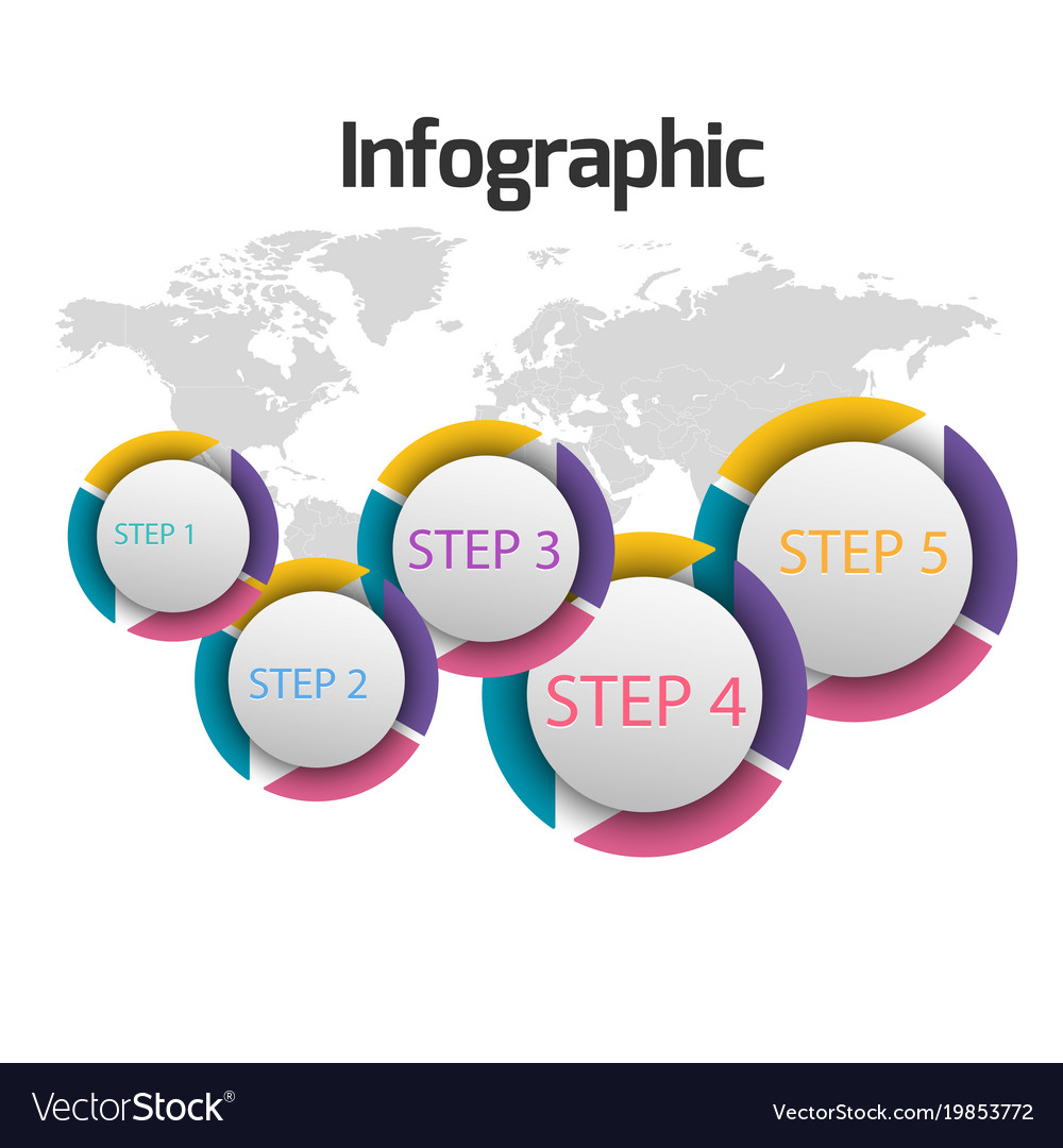 Circle step number with 5 step infographics
