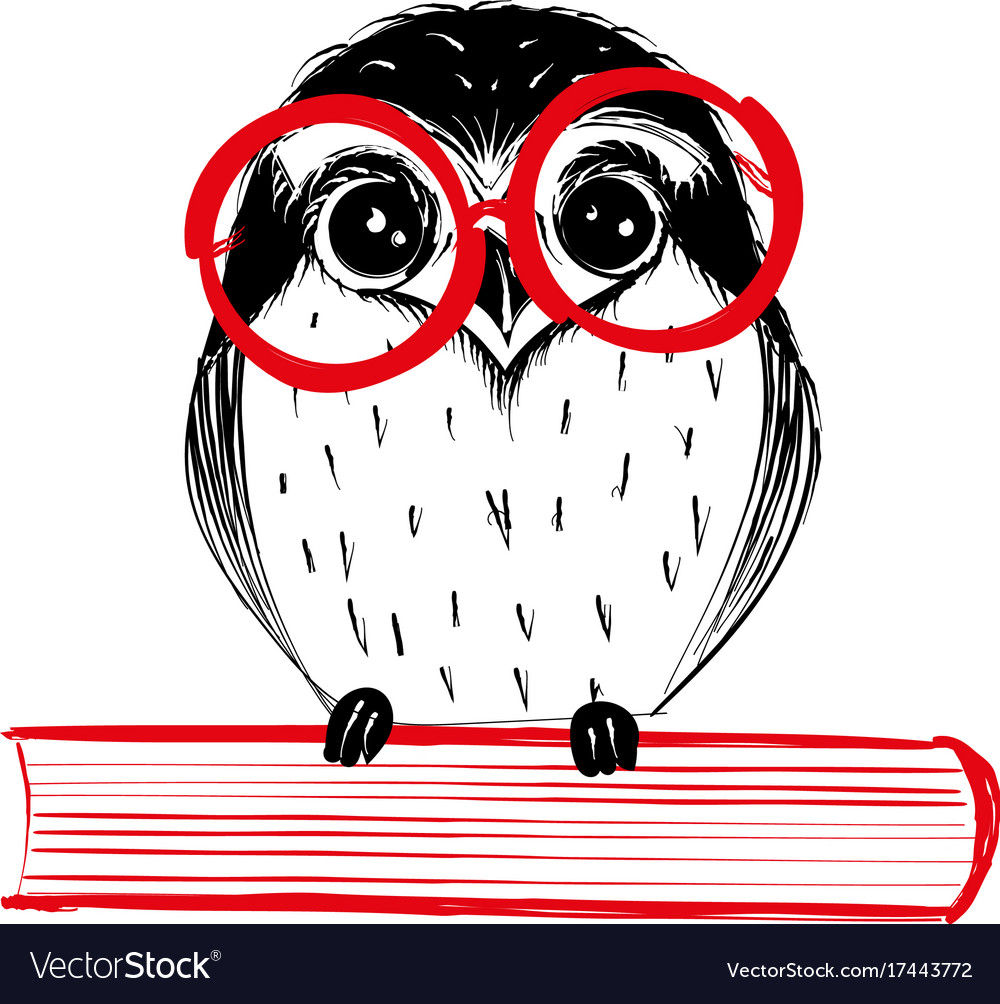 Cute hand drawn owl with red glass sitting on