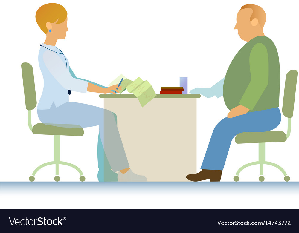 Doctor and patient ecg overweight