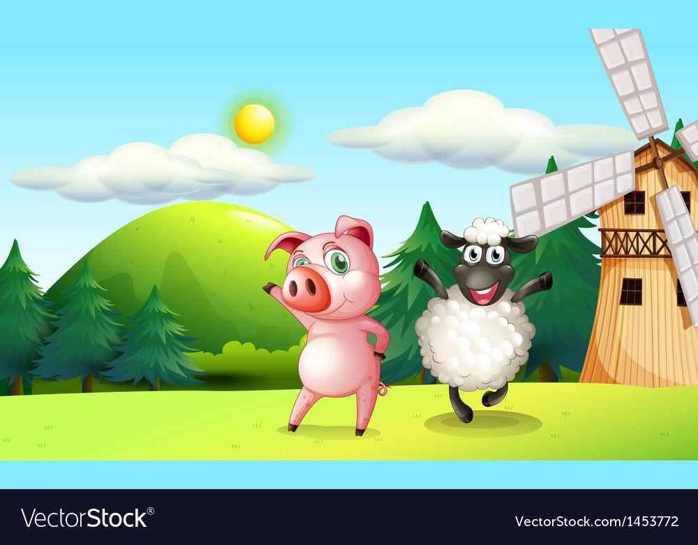 Farm animals dancing near the windmill