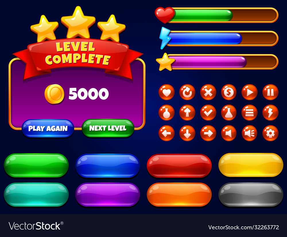 Game ui level complete menu with golden stars and