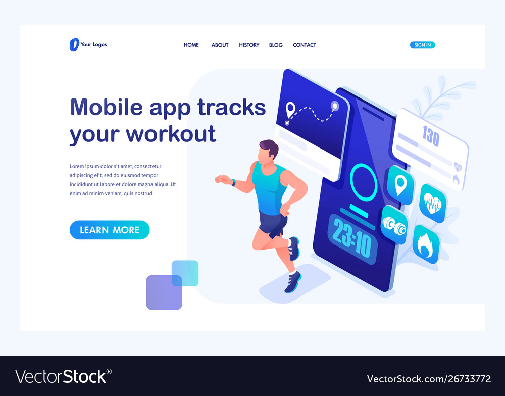 Isometric concept mobile app tracks your workout