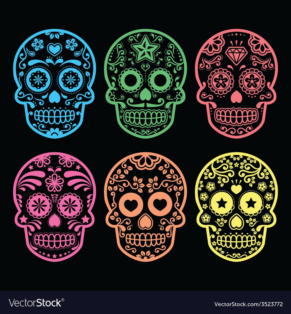Mexican sugar skull Dia de los Muertos icons