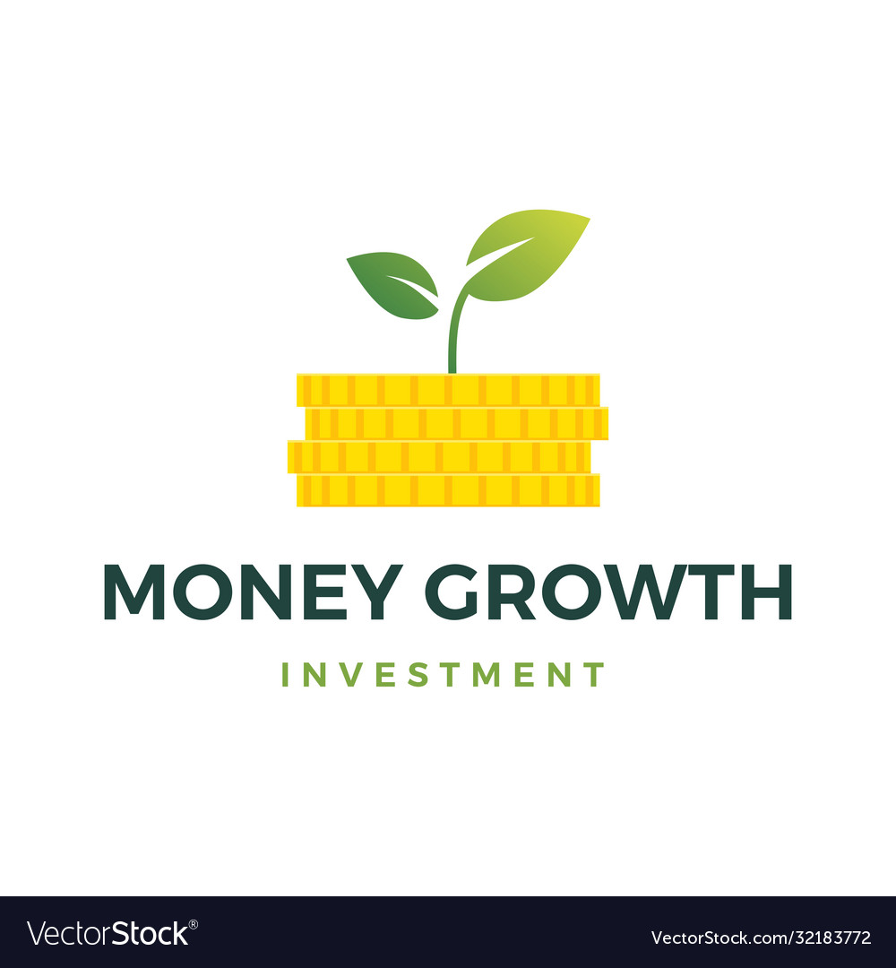 Money growth coin leaf sprout logo icon