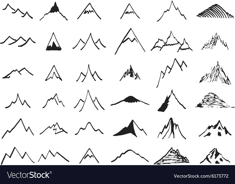 Mountain icons set Hand drawn