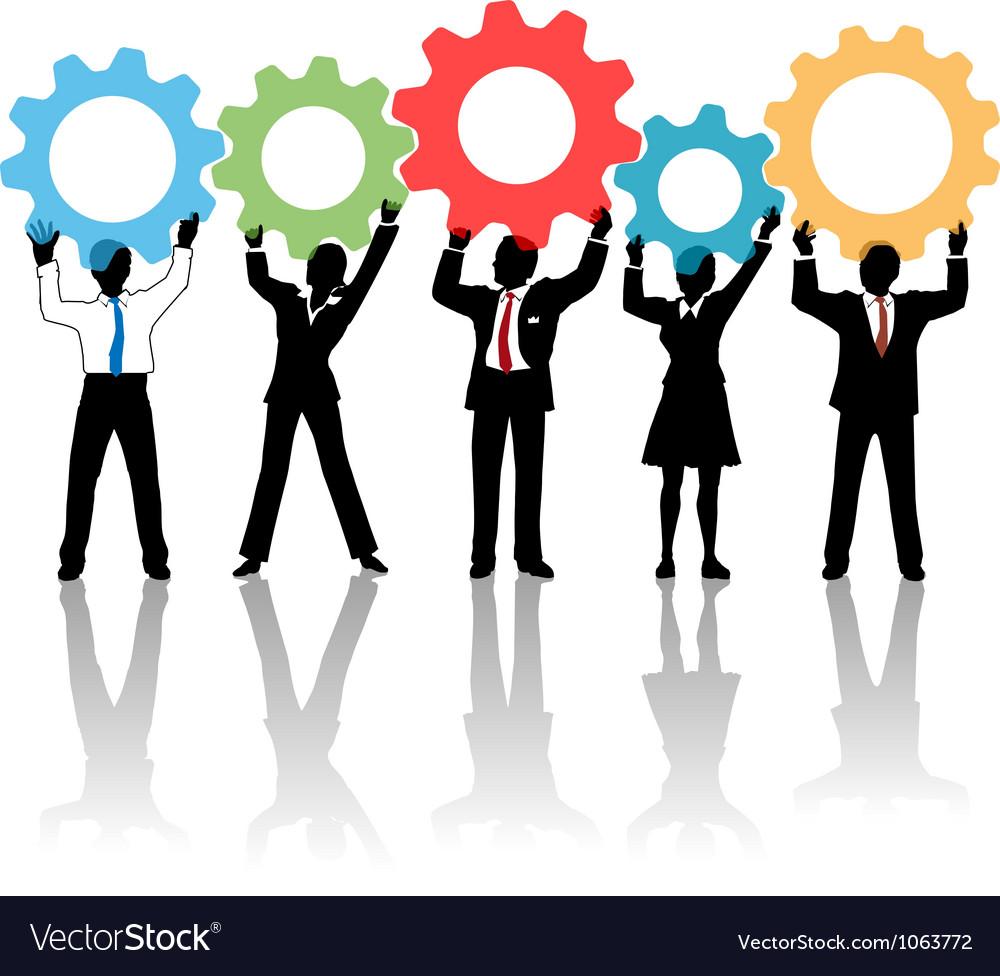 People team up technology solution gears vector image