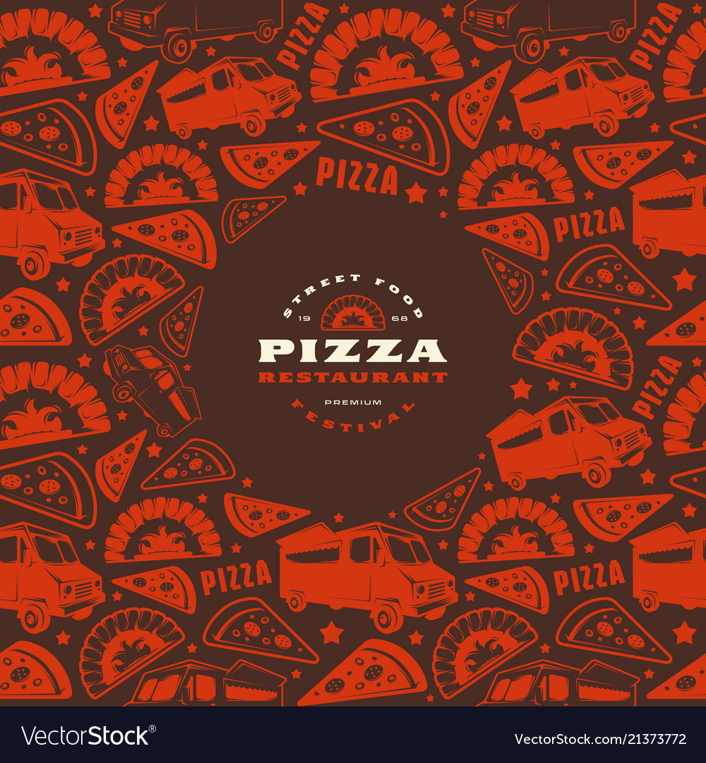 Pizzeria label and frame with pattern