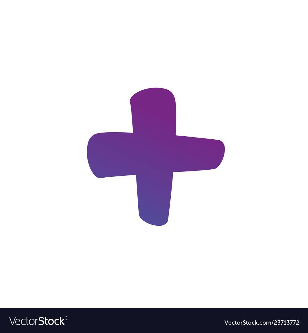 Plus or cross symbols hand painted plus cross