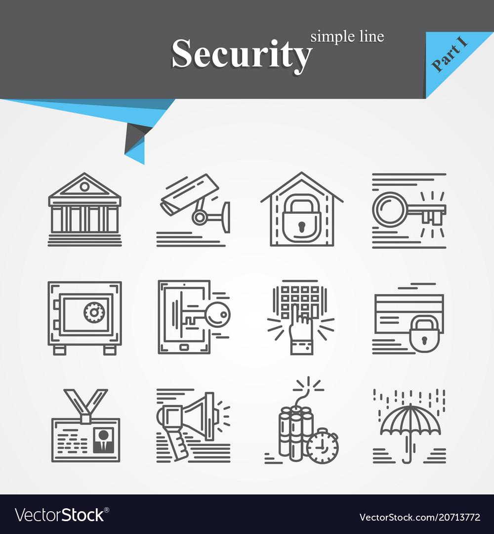 Security thin line icon set