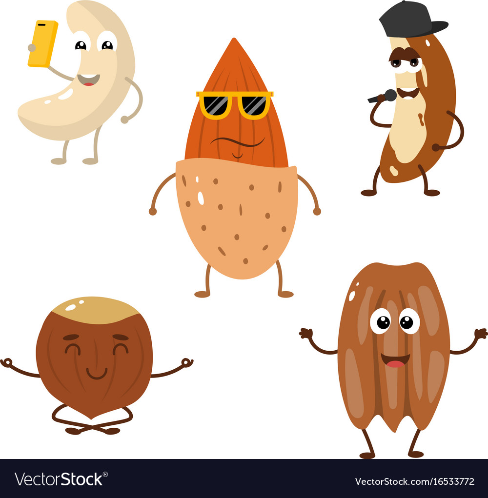 Set of funny characters from nuts