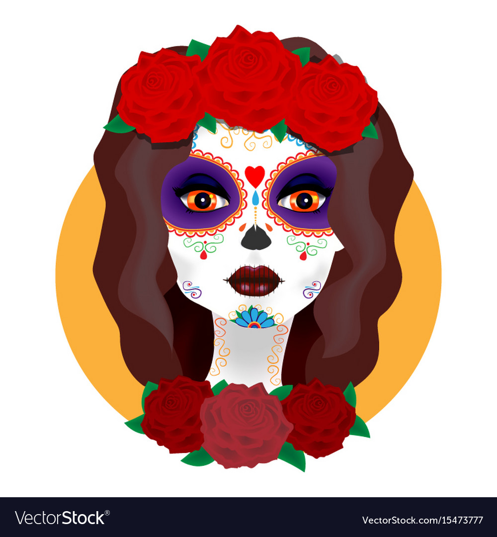 Day of the dead beautiful girl with roses