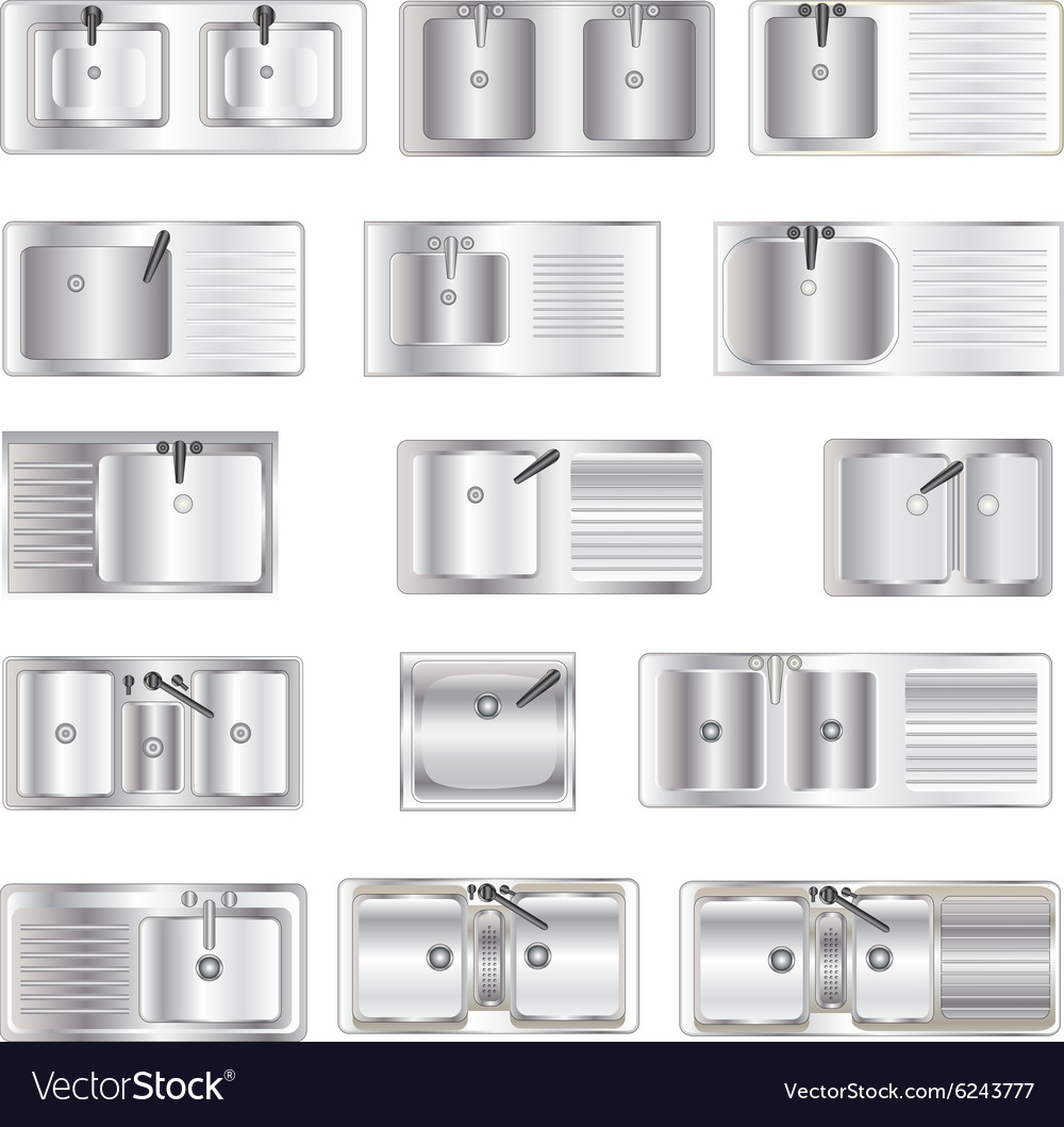 Kitchen Equipment Sinks Top View Set 1 Royalty Free Vector