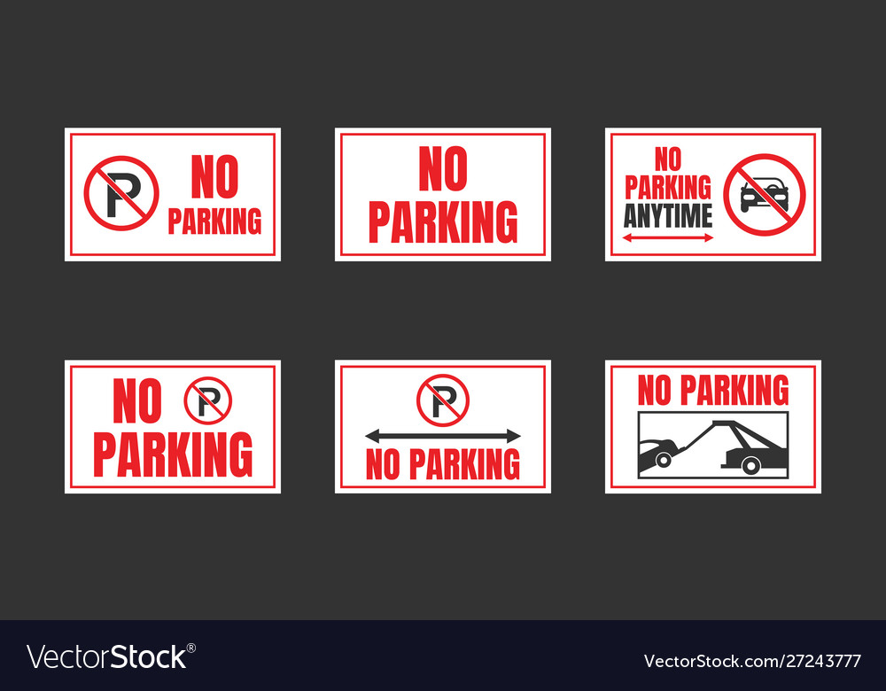 No parking signs set parking is prohibited icons