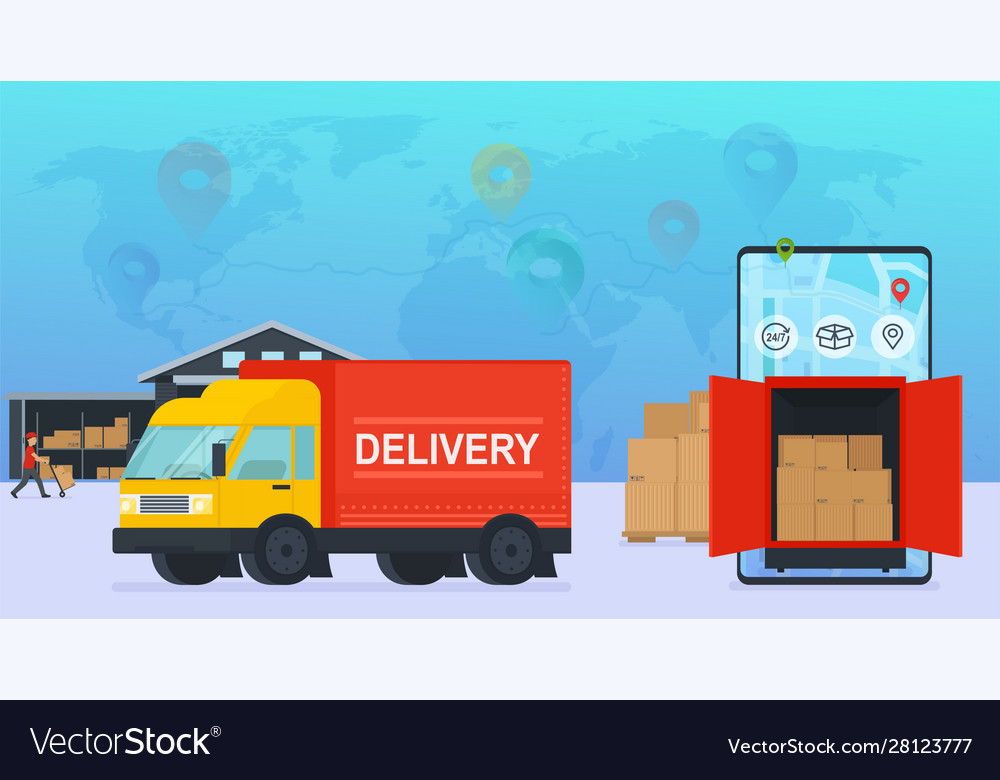 Online service delivery goods to warehouse and