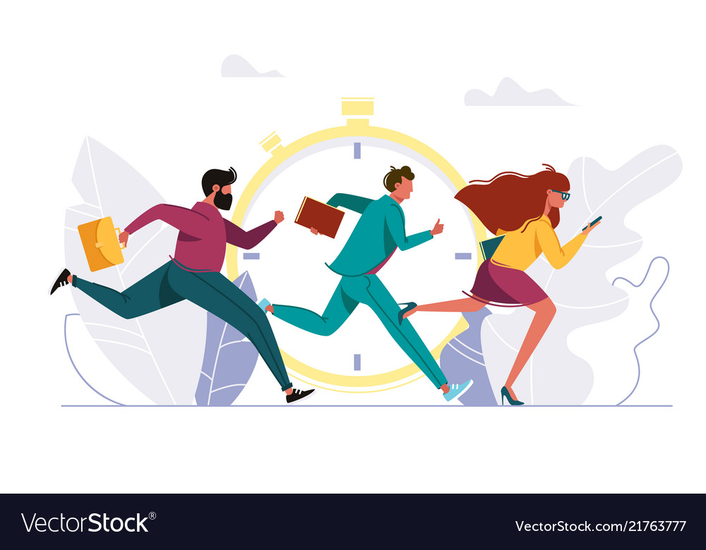 People rushing to work running person
