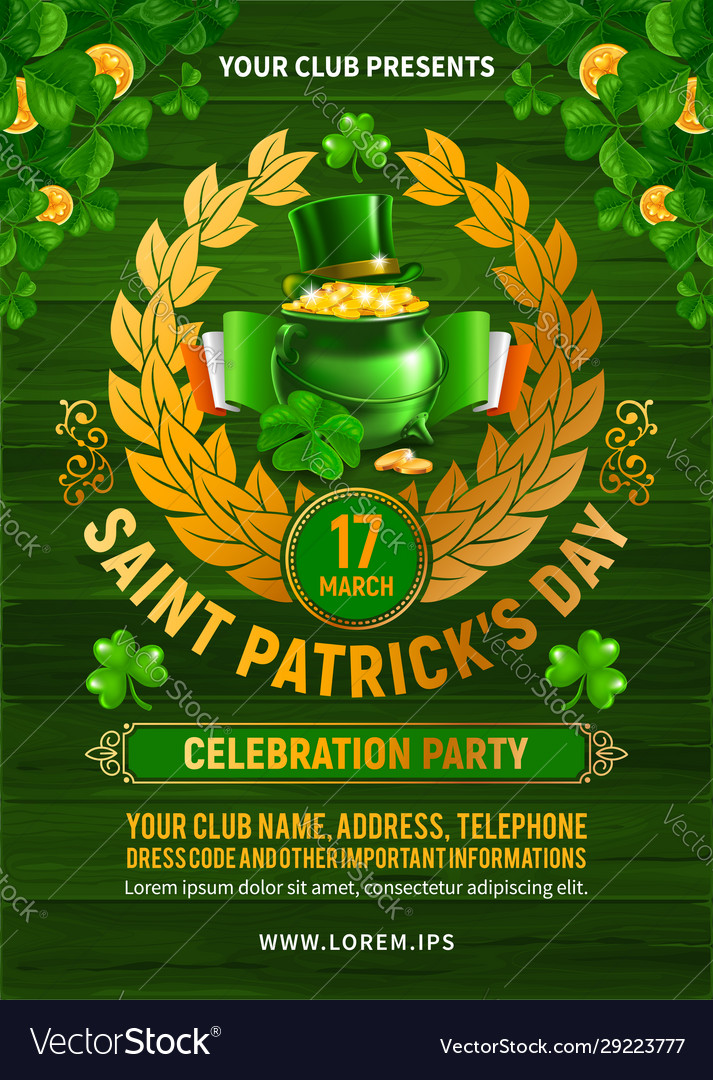 Saint patricks day party poster or flyer design