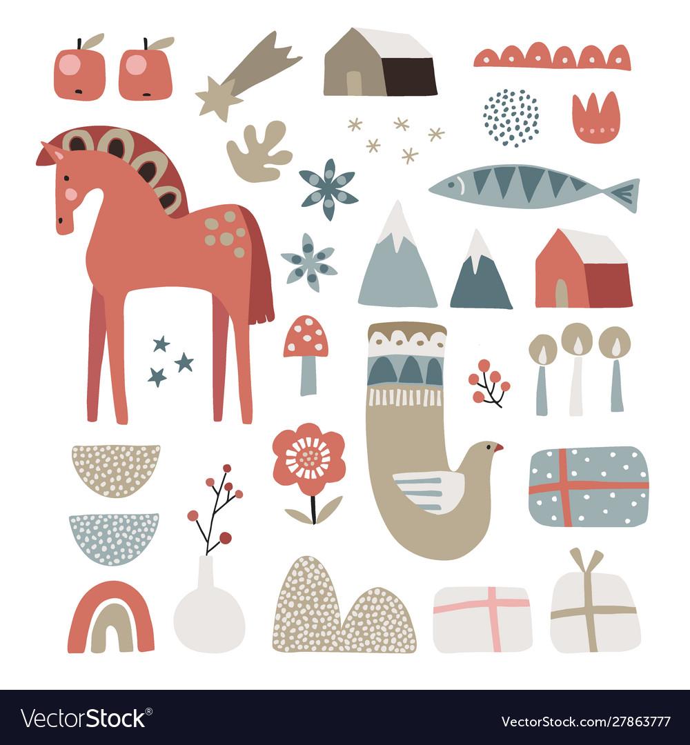 Set christmas scandinavian animals and natural