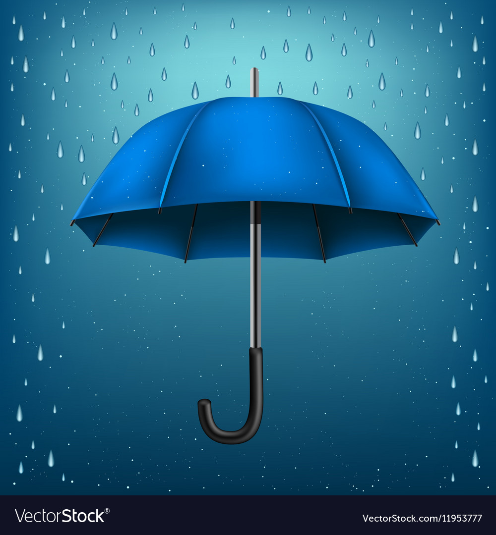 3044d7954b7d4 Umbrella rain blue background Royalty Free Vector Image