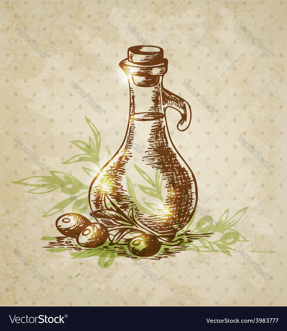 Vintage background with olive oil