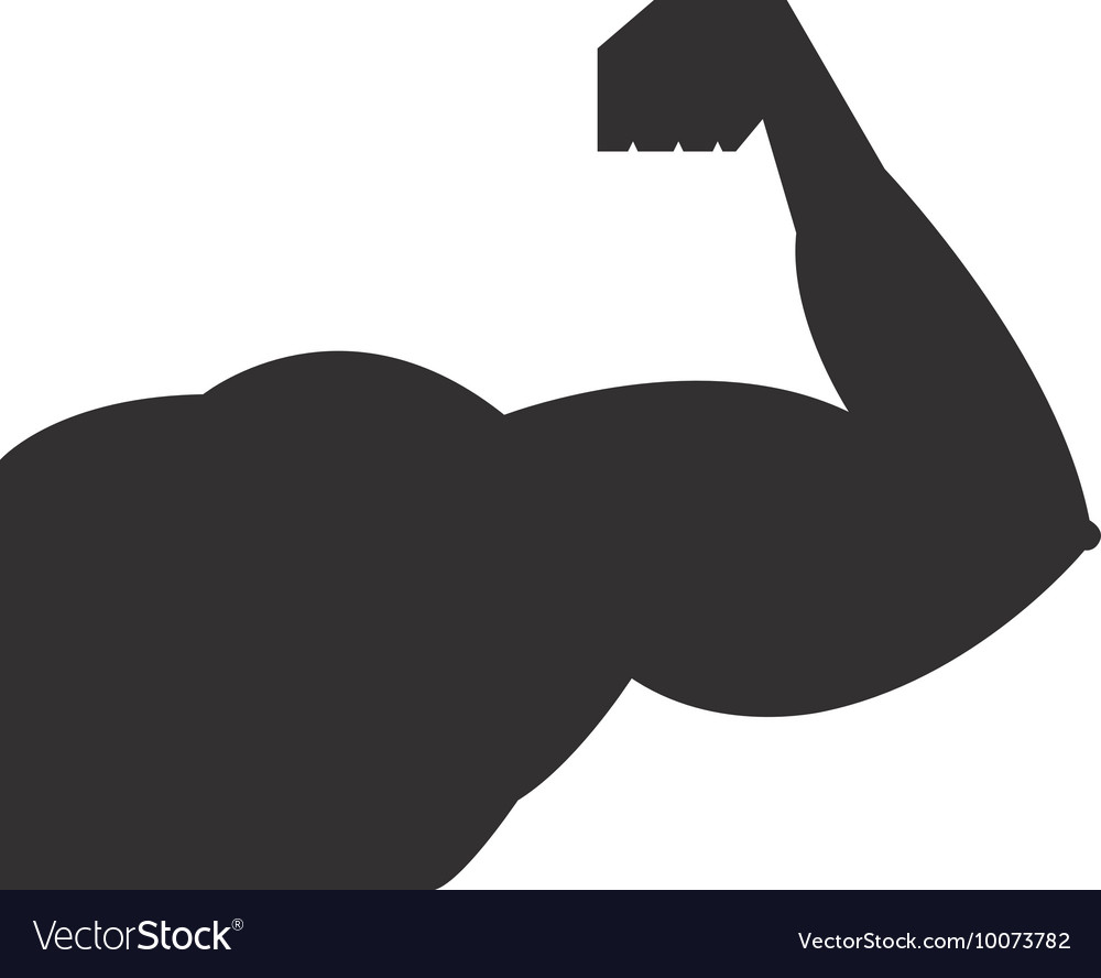 Arm strong man silhouette icon vector image