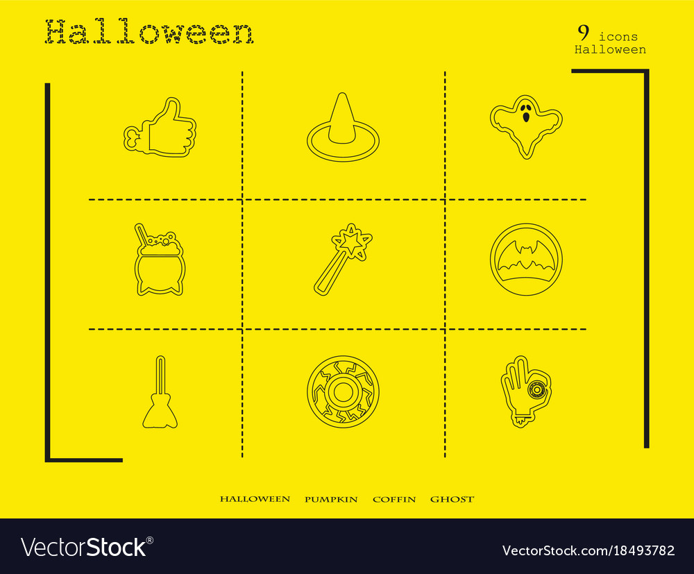 Collection of 9 halloween icons in thin line style