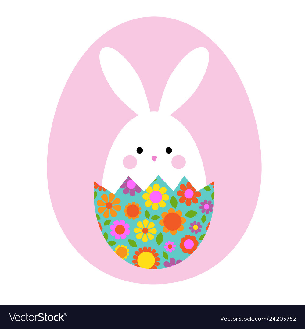 Cute easter bunny in hatching floral egg
