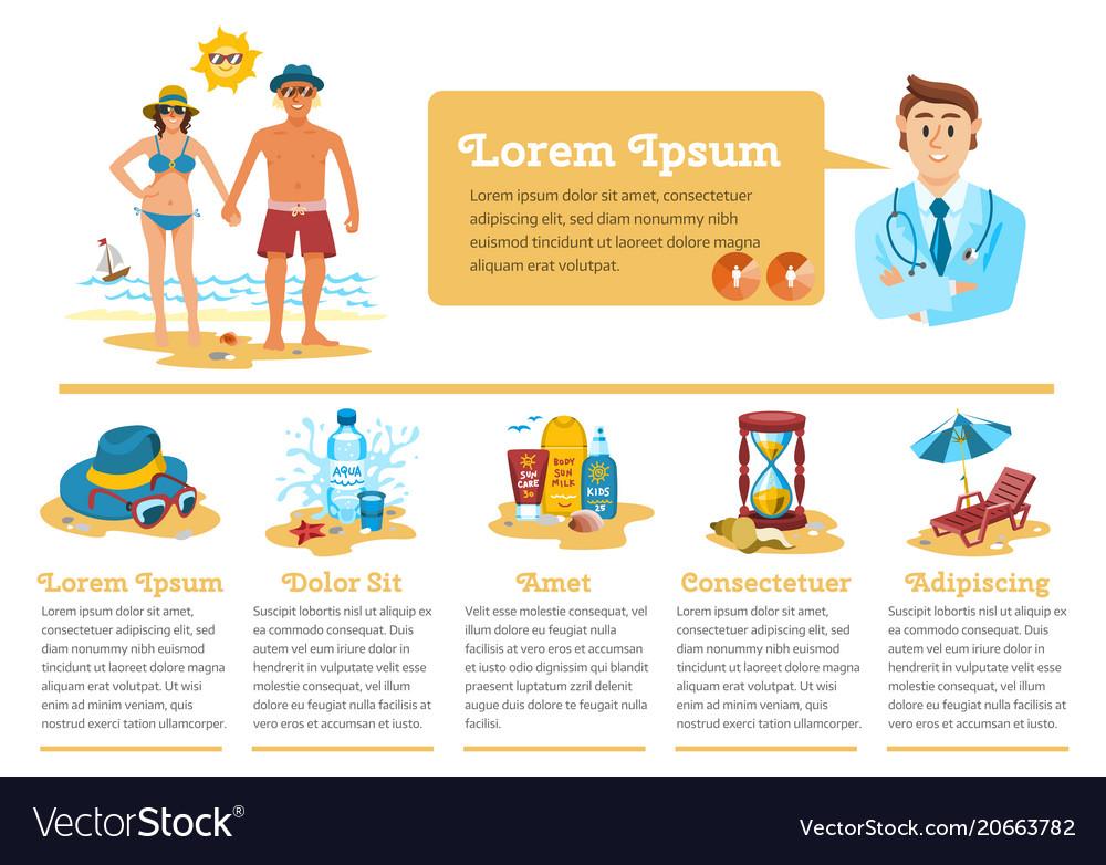 Man and woman sunbathing infographics couple vector image