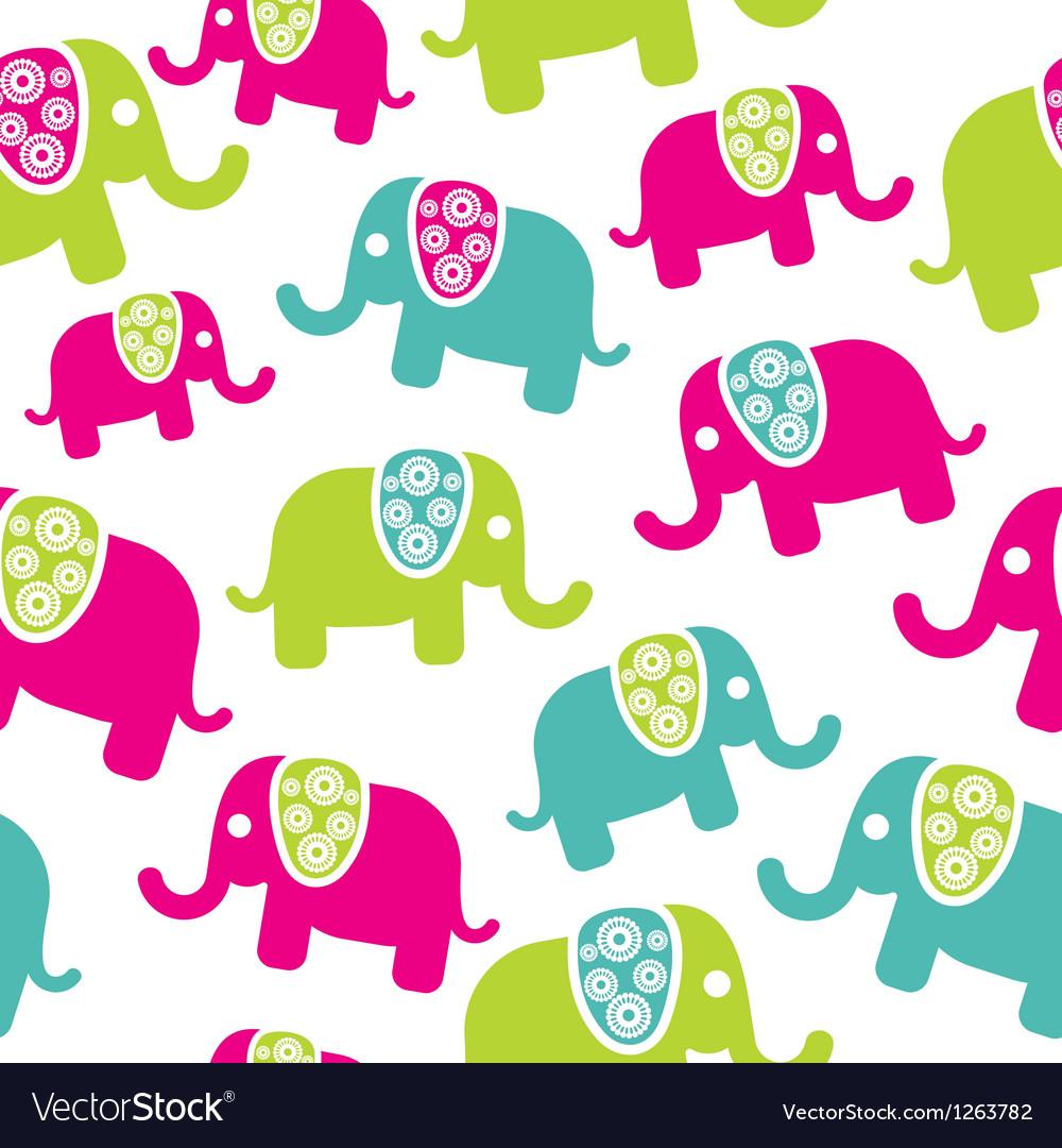 Seamless retro elephant pattern vector image