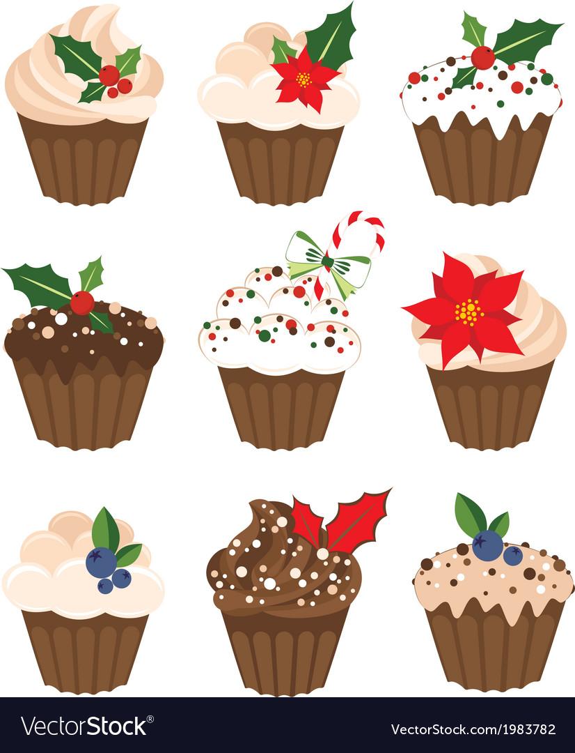 Set of christmass muffins